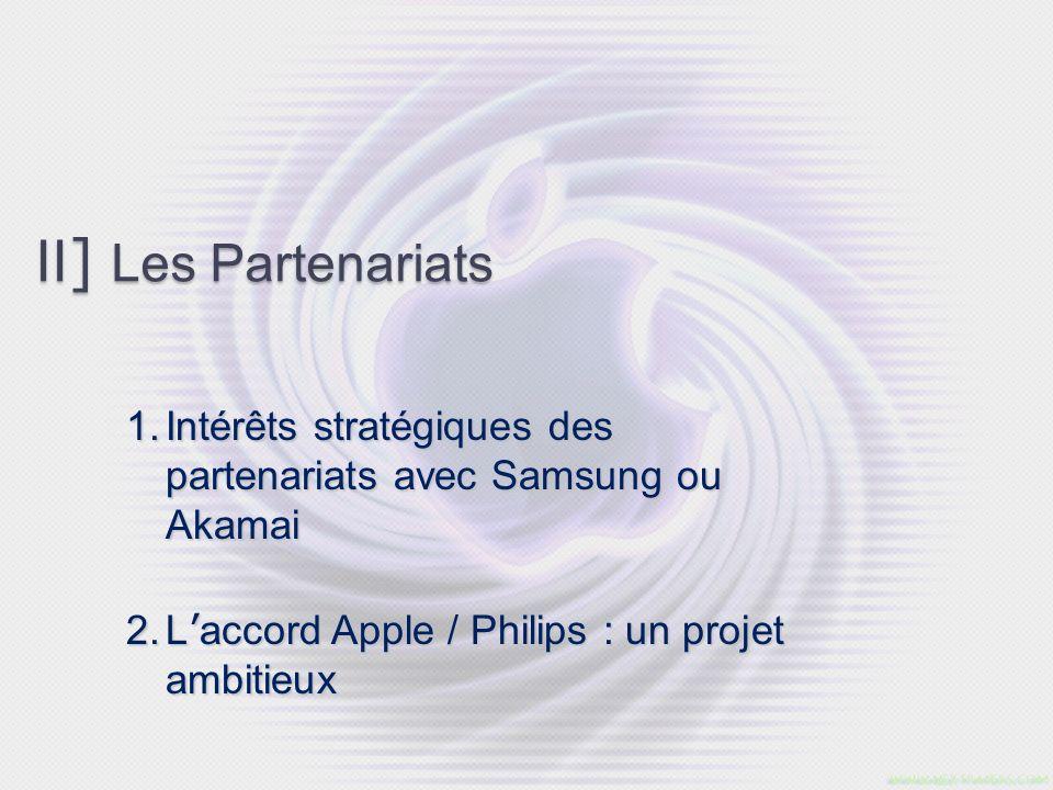 II] Les Partenariats Intérêts stratégiques des partenariats avec Samsung ou Akamai.